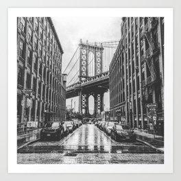 DUMBO, Brooklyn NY Black and White Art Print