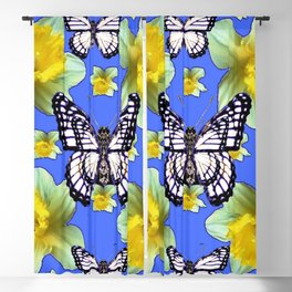 WHITE MONARCH BUTTERFLIES DAFFODILS ON BABY BLUE Blackout Curtain