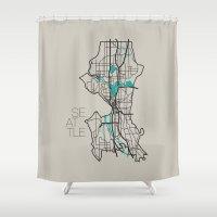 seattle Shower Curtains featuring Seattle by linnydrez