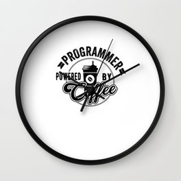 Programmer Powered By Coffee Gift Idea Wall Clock