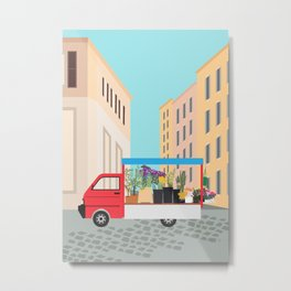 Flower Truck in Rome, Italy Metal Print