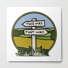 Signpost at a crossroads Metal Print