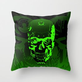Gamer Skull CARTOON GREEN / 3D render of cyborg head Throw Pillow
