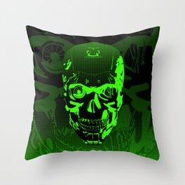 Gamer Skull CARTOON GREEN / 3D render of cyborg head Throw Pillow