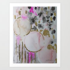 Spots or Dots Pink Abstract Painting Art Print