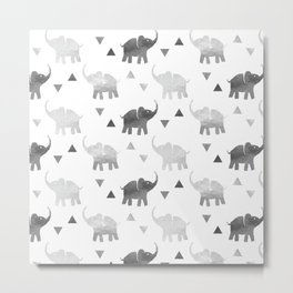 Elephants and Triangles - Silver Metal Print