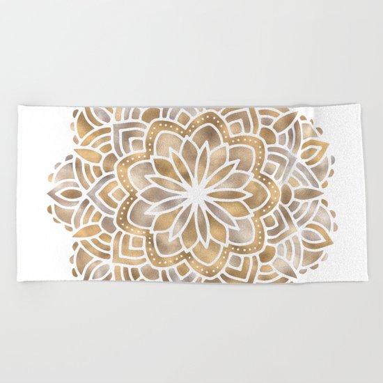 Mandala Multi Metallic in Gold Silver Bronze Copper Beach Towel