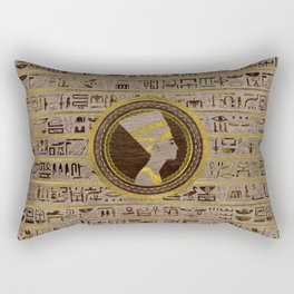Pyrographed Golden Nefertiti on wood Rectangular Pillow
