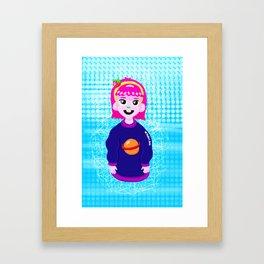 Strawberry Space Girl Framed Art Print