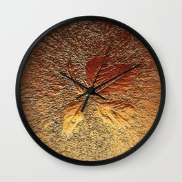Rust glitter leaves in fall Wall Clock