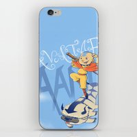 aang iPhone & iPod Skins featuring Avatar Aang by LeticiaFigueroa