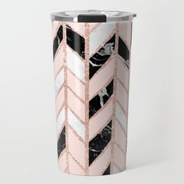 Rose gold glitter chevron herringbone black white marble pattern Travel Mug