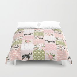 Australian Shepherd Patchwork - purple floral, flowers, dog, dogs, aussie dog, cute dogs, dog blanke Duvet Cover