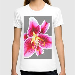 GREY FUCHSIA PINK ASIATIC LILY FLOWER  ABSTRACT ART T-shirt