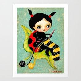 The Ladybug Knitter by Tascha Art Print