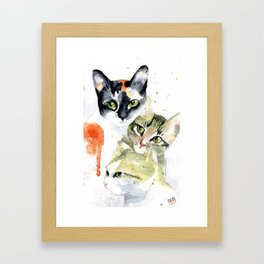 Three Cats, Watercolor Painting Framed Art Print