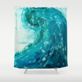 Crashing Waves Resin Painting Shower Curtain