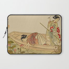 Women Gathering Lotus Blossoms Laptop Sleeve