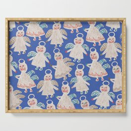 Angels on blue Serving Tray