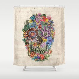 tropilcal floral skull 5 Shower Curtain