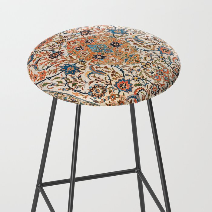 Isfahan Antique Central Persian Carpet Print Bar Stool