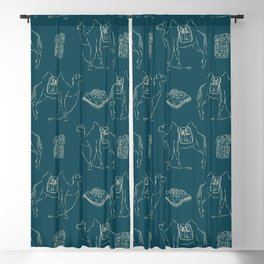 Linocut Camels No. 1 in Teal Blackout Curtain