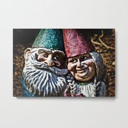 Garden Gnome Couple Metal Print