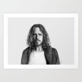 Chris Cornell tribute, black and white Art Print