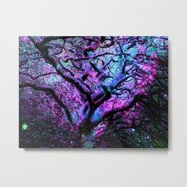 Mystic Tree of Knowledge Pink & Blue Metal Print