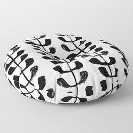 Linocut black and white botanical pattern minimalist home decor nursery trendy leaves pattern Floor Pillow