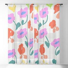 Dancing Flowers #Repeating #DigitalArt #Nature Sheer Curtain