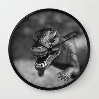dinosaur Wall Clocks featuring Dinosaur  by Kedzie Stark
