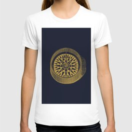 The golden compass I- maritime print with gold ornament T-shirt