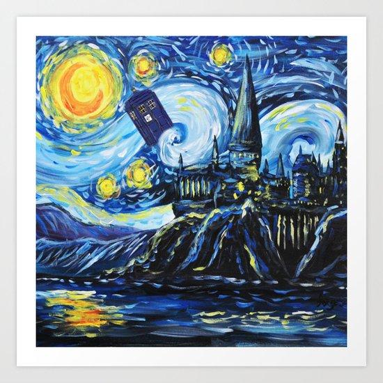 Tardis Starry Night Castle Art Print