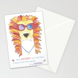 Lion in pink glasses Stationery Cards