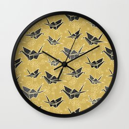Black and Gold Japanese Origami Cranes Wall Clock