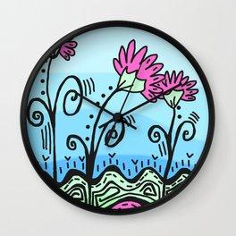 Three Spring Flowers - Blue Wall Clock