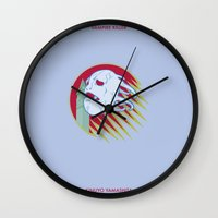 jojo Wall Clocks featuring VAMPIRE KILLER - CASTLEVANIA - JOJO by Mirco Greselin