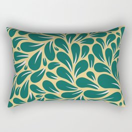 Gold and Green Leaves Pattern Rectangular Pillow