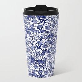 Indigo Florals watercolor painterly botanical boho pattern print nature spring summer monochromatic Metal Travel Mug