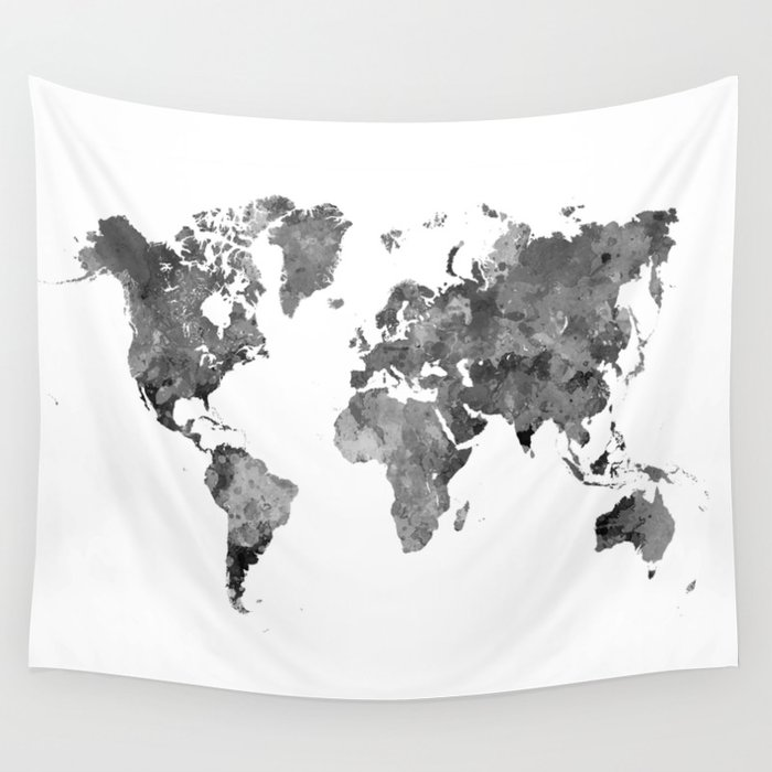 World map in watercolor gray wall tapestry by paulrommer society6 world map in watercolor gray wall tapestry gumiabroncs Choice Image