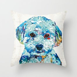 Small Dog Art - Soft Love - Sharon Cummings Throw Pillow