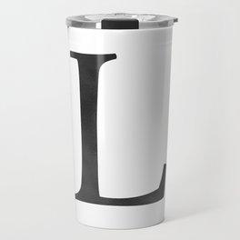 Letter L Initial Monogram Black and White Travel Mug