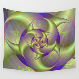 Spiral Pincers in Blue and Green Wall Tapestry