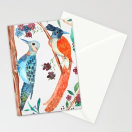 Watercolor birds Stationery Cards