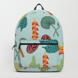 Tropical Plant Pattern Backpack