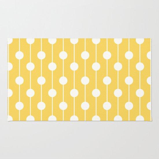 Yellow Lined Polka Dot Rug