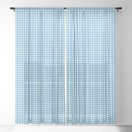 Small Ocean Blue on White Gingham Squares Sheer Curtain