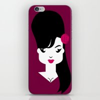 amy poehler iPhone & iPod Skins featuring Amy by Marco Recuero