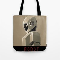robot Tote Bags featuring Robot by Kidney Theft